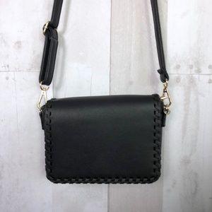 [Vegan Leather] Black Whipstitch Crossbody Bag